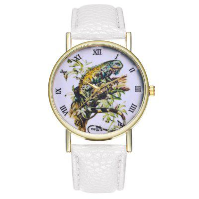 Casual Minimalist Lizard Print Illustration Dial Quartz Belt Watch