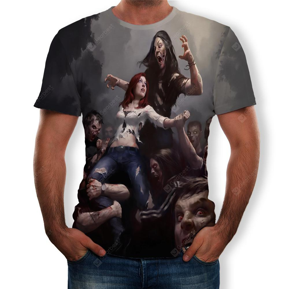 3D Summer Fashion Zombie Group Print Men's Short Sleeve T-shirt