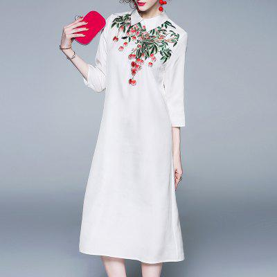 Women'S Spring and Summer New Lapel Embroidery Dress