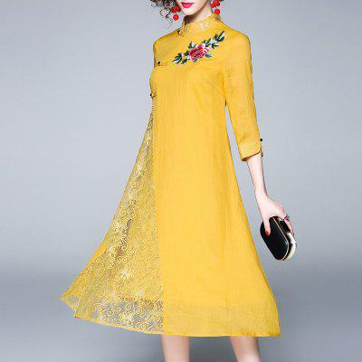 Women'S Spring and Summer New Embroidery Lace Swagger Dress