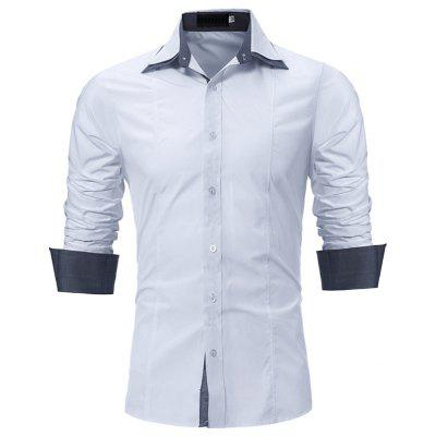 Personality Double Collar Sleeve Patch Casual Slim Long Sleeve Shirt