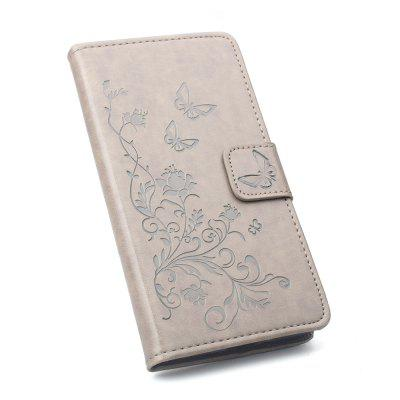 Card Slot Bracket Design Embossing PU Leather Case for Samsung A7 2018