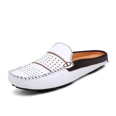 Men's Half Slippers Men Slip On Spring/Summer Shoes Man Soft Leather Flats
