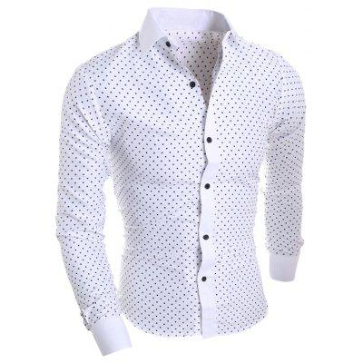Men's Five-pointed Star Print Casual Long-sleeved Shirt
