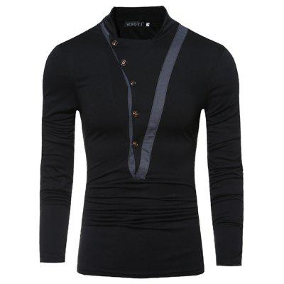 New Tide Oblique Button Stitching Male Stand Collar Slim Long-Sleeved T-Shirt