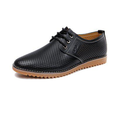 Summer Business Mens Casual Leather Shoes Lace-Up Sneakers Breathable Flat Shoes