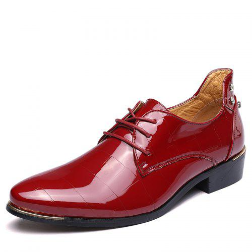 British Mens Lace Up Slip On Pointy Metal Toe Leather Splice Dress Business Shoe