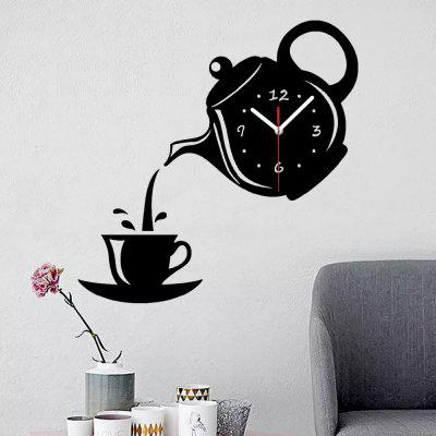 Creative 3D Teapot DIY Mute Wall Clock