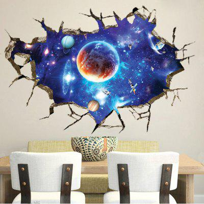 3D Broken Wall Space Planet Wall Stickers Bedroom Living Room Ceiling Decoration