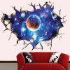 3D Broken Wall Space Planet Wall Stickers Bedroom Living Room Ceiling Decoration - OCEAN BLUE