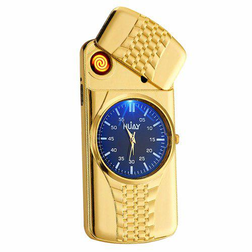 Gearbest Ultra-Thin Noctilucent Cigarette Lighter USB Charging Character Watch - Gold