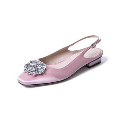 Summer Square Head Rhinestone Square Buckle with Dew and Silk Low Heel Sandals