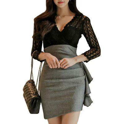 V Collar Lace Fake Two Dresses