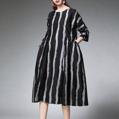 Women'S Spring and Summer New Loose Fashion Cotton Stripe Dress