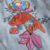 Women's Plus Size Loose Flower Embroidered Jeans Coat - JEANS BLUE