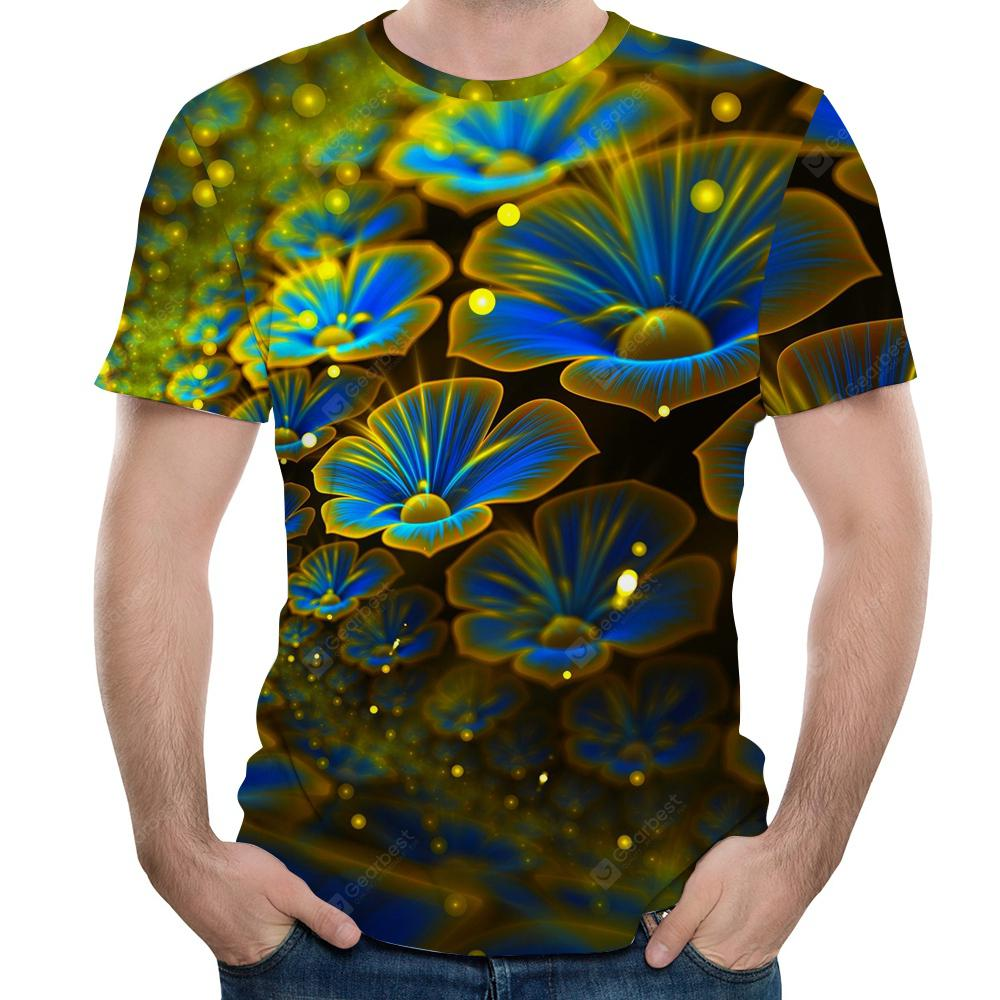 3D Summer Fashion Five-Leaf Petal Print Men's Short-Sleeved T-shirt