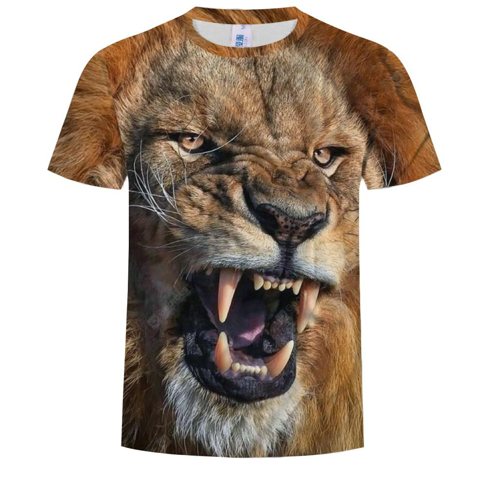 Casual Men's Round Neck Short Sleeve T-Shirt 3D Printed Lion Face
