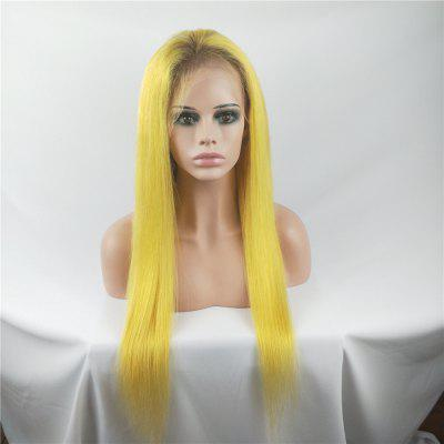 Lace Front Wigs Yellow Color Silky Straight Brazilian Human Hai