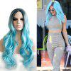 Dark Root Natural Hairline Somke Blue Ombre Synthetic Women Hair Heat Resistant - DAY SKY BLUE