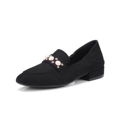 Spring and Summer Square Head Pearl Low Heel Can Step on Two Casual Shoes