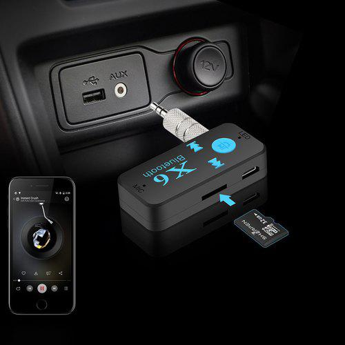 X6 Wireless Bluetooth USB Receiver 3.5mm Audio Jack TF Card For Car Speaker
