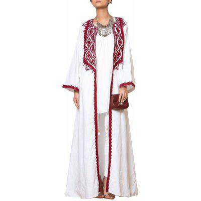The Classic Red and White Tooth Lace Edge Elegant Temperament Fashion Long Dress