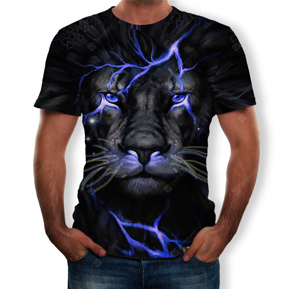 New Men Summer Fashion Lion Head 3D Printed Short-Sleeved T-Shirt