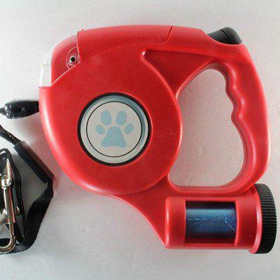 15' Retractable Dog Leash with LED Flashighting  Dog Waste Dispenser Included
