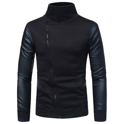 Luva de couro Costura Masculina Casual Slim Collar Zipper Cardigan Sweater