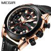 Men's Sports Leather Timing Waterproof Quartz Watch - MULTI-C