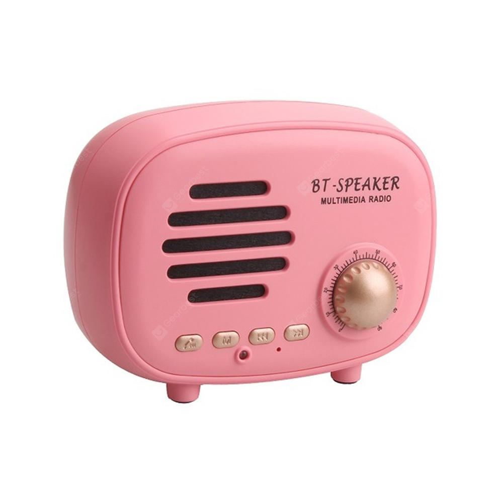 Retro Mini  Bluetooth Speaker FM Support TF Hands-free for iPhone X -  Pink