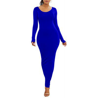 Women'S Long Sleeve Boat Neck Solid Color Casual Maxi Dress