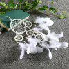 Ivory Five-Ring Pearl Crystal Dream Catcher Wedding Decorations Indoor Pendant - WHITE