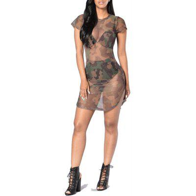 Camouette Mesh Sexy Perspective Short-Sleeved Dress
