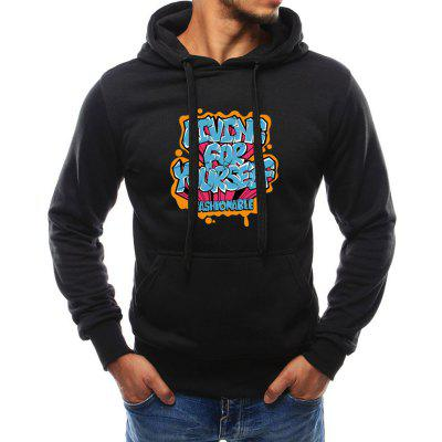 Men's Fashion New  Printed Sanitary Clothes Hooded Long Sleeved Top Blouse