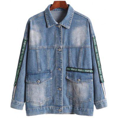 Mulheres Plus Size Leisure Loose Jeans Coat