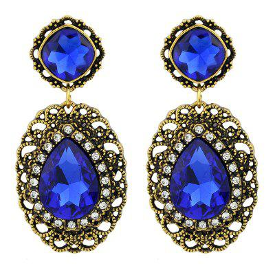 Fashion Blue Large Gemstone Pendant Earrings