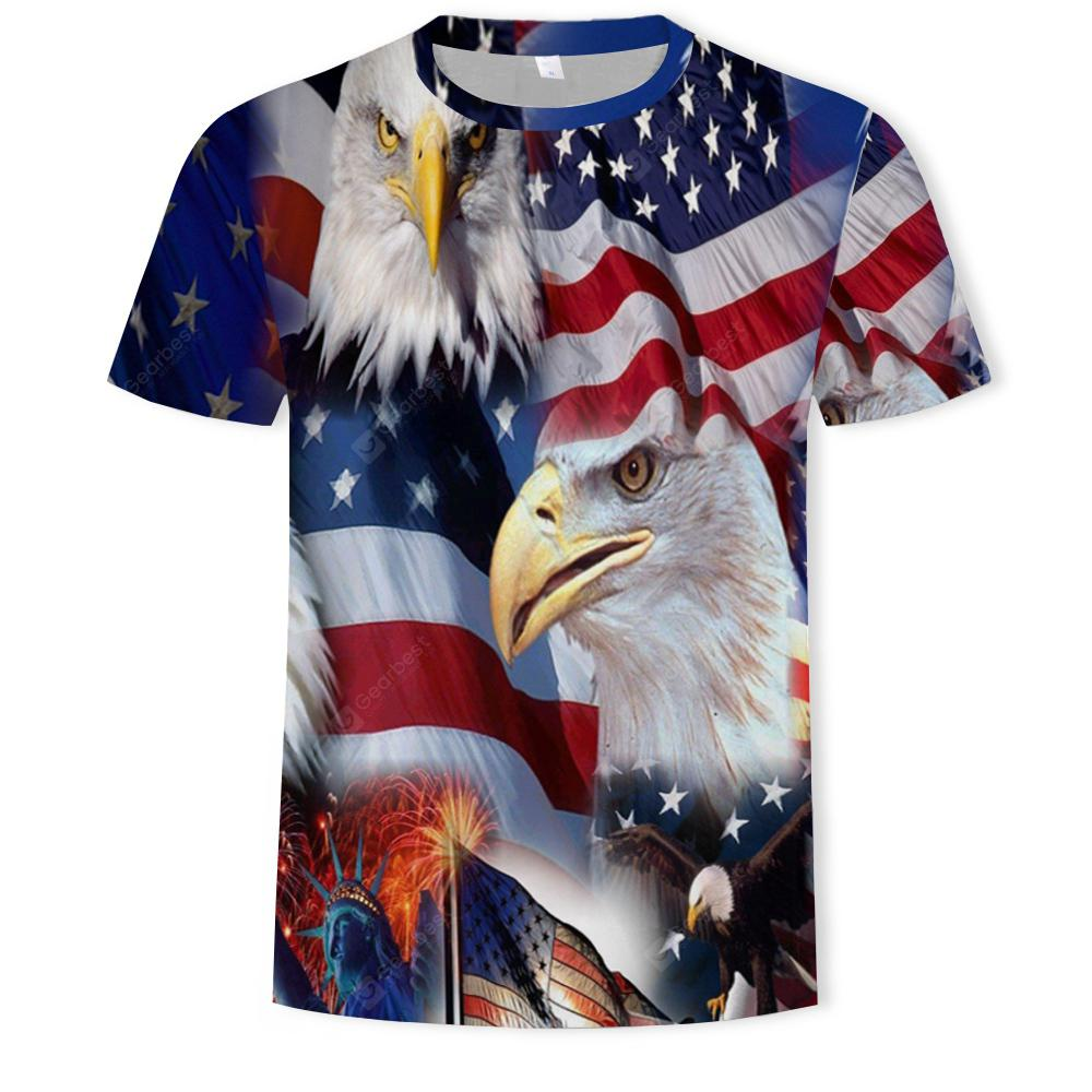 3D Flag Eagle Digital Print Summer Fashion Men's Short Sleeve T-Shirt