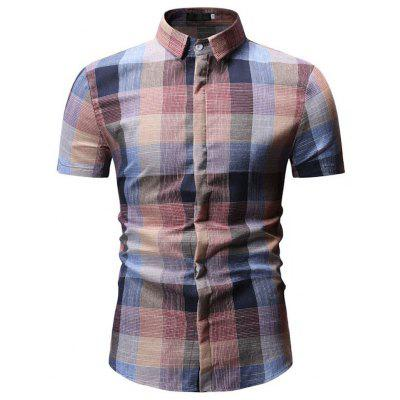 Men's  Autumn Color Checkered Lapel Slim Short Sleeve Shirt