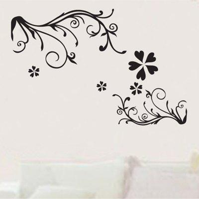 Simple Black Flower Vine 3D Atmosphere Wall Decoration Wall Sticker