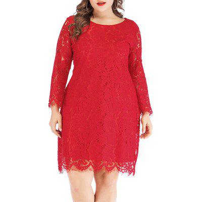 Large Lace Dress Female Crew Neck Hollow Long Sleeve Fashion Sexy Pencil Skirt