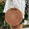 Straw Bag Natural Hand-Knit Crossbody Round Cake Travel Shoulder Bag Female - BRONZE