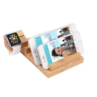 Wood USB Charging Station Desk Stand Charger 4 USB Ports for iPhone/ipad