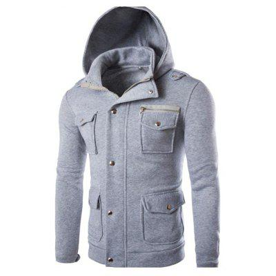 Men Casual Hooded Sweater Multi-Pocket Unique Button Design Sweater Jacket