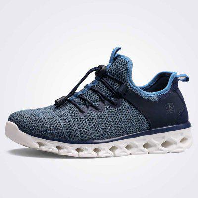 HUMTTO Men Breathable Lightweight Leather Mesh Sneakers Jogging Casual Shoes