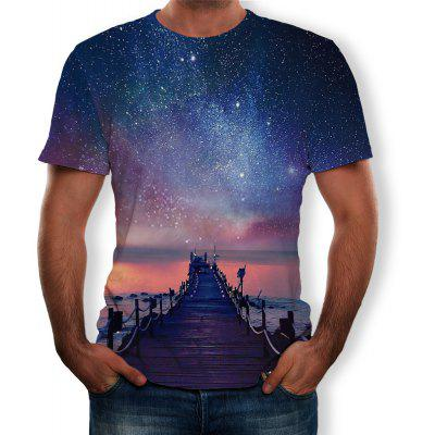 3D Summer Fashion Starry Night Ver Imprimir T-shirt de manga curta dos homens