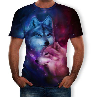 3D Summer Fashion Male and Female Double Wolf Print Men's Short-Sleeved T-shirt