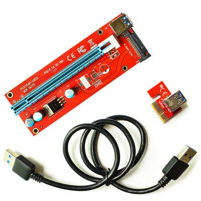 New PCIE 1X To 16X Video Card Extension Cord SATA Power Supply Adapter Card