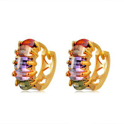 Gold-Plated Five-Piece Color Crystal Earrings