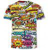 Ou Code New Is Digital Printing Creative Letter Picture Round Neck Short Sleeve - MULTI